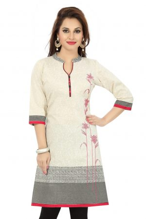Contemporary Beauty Off White Cotton Short Tunic for Women