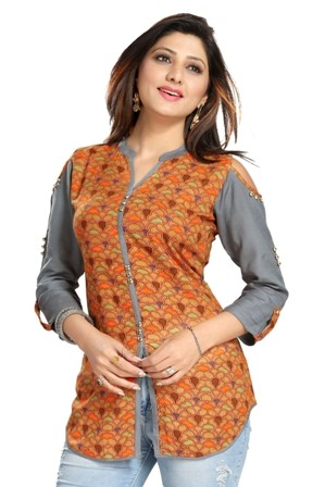 Rayon Cotton Shirt Tunic with Cold Shoulders.